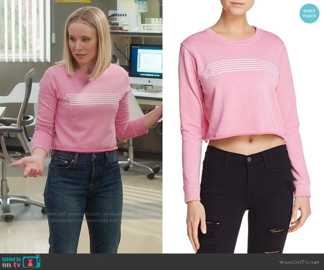 Desert Dreamer Star Streak Cropped Sweatshirt worn by Eleanor Shellstrop (Kristen Bell) on The Good Place