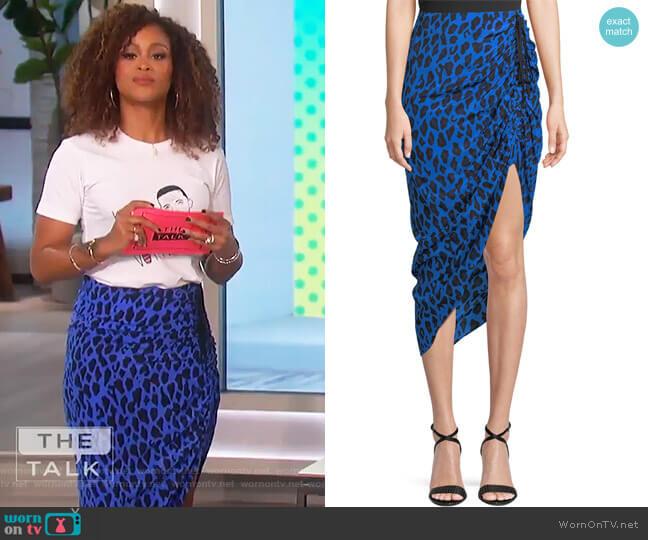 Ruched Leopard-Print Silk Pencil Skirt by Diane von Furstenberg worn by Eve  on The Talk
