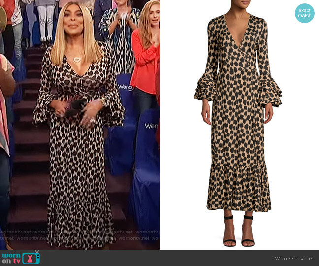 Ruffle Sleeve Wrap Dress by Diane von Furstenberg worn by Wendy Williams  on The Wendy Williams Show