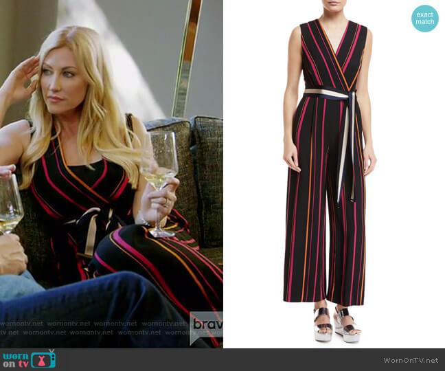 Sleeveless Crossover Wide-Leg Striped Jumpsuit by Diane von Furstenberg worn by Stephanie Hollman on The Real Housewives of Dallas