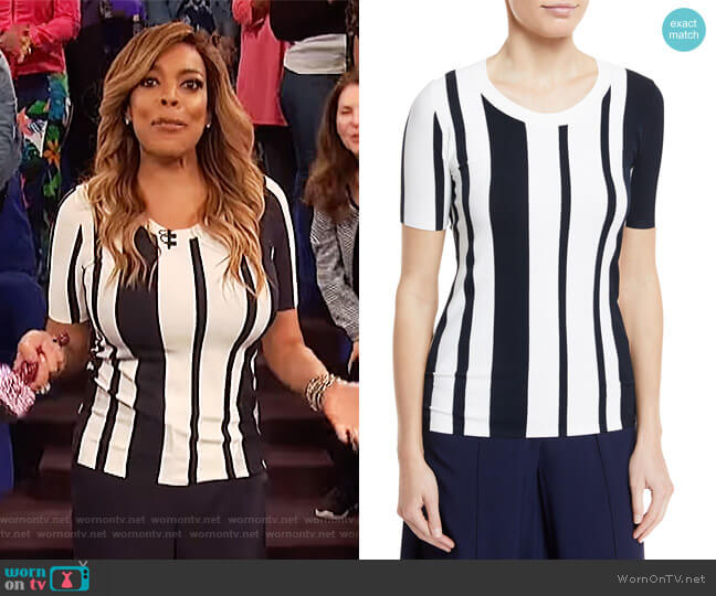 Striped Scoop-Neck Pullover Top by Diane von Furstenberg worn by Wendy Williams  on The Wendy Williams Show