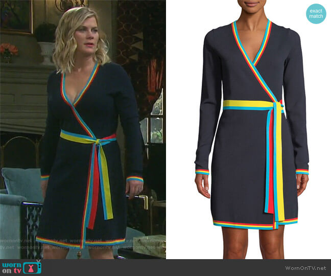 Long-Sleeve Wrap Sweater Dress by Diane von Furstenberg worn by Sami Brady (Alison Sweeney) on Days of our Lives