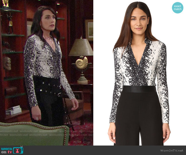Diane von Furstenberg New Jeanne Bodysuit in Stella Black worn by Quinn Fuller (Rena Sofer) on The Bold & the Beautiful