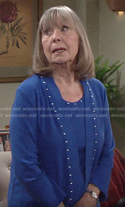 Dina's blue studded top and cardigan on The Young and the Restless