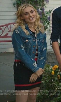 Taylor's distressed denim jacket on American Housewife