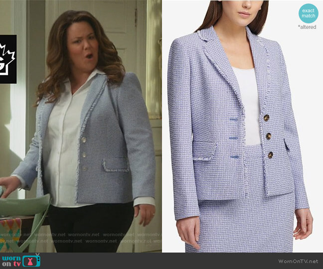 Three-Button Tweed Blazer by DKNY worn by Katy Mixon on American Housewife