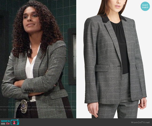 DKNY Plaid One-Button Blazer worn by Jordan Ashford (Briana Nicole Henry) on General Hospital