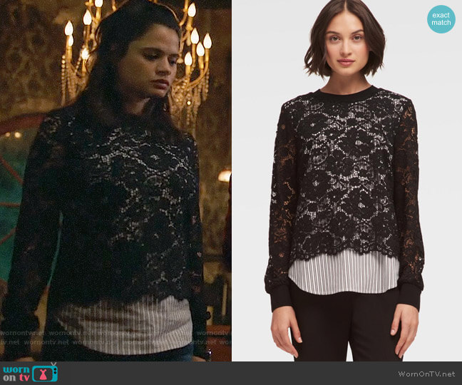 DKNY Striped Poplin and Lace Top worn by Melonie Diaz on Charmed