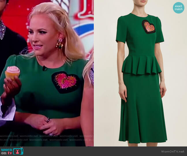 Heart-embellished round-neck peplum dress by Dolce & Gabbana worn by Meghan McCain  on The View