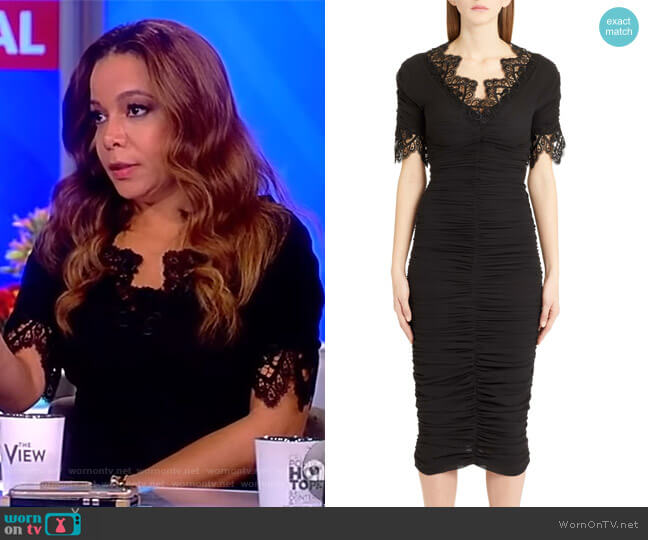 Crocheted lace-trimmed ruched silk-blend georgette dress by Dolce & Gabbana worn by Sunny Hostin on The View