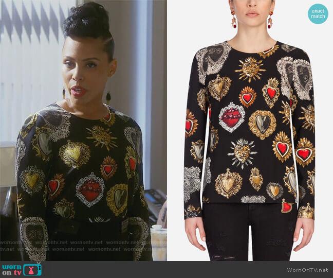 Black Heart Caddy Top by Dolce & Gabbana worn by Amirah Vann on HTGAWM