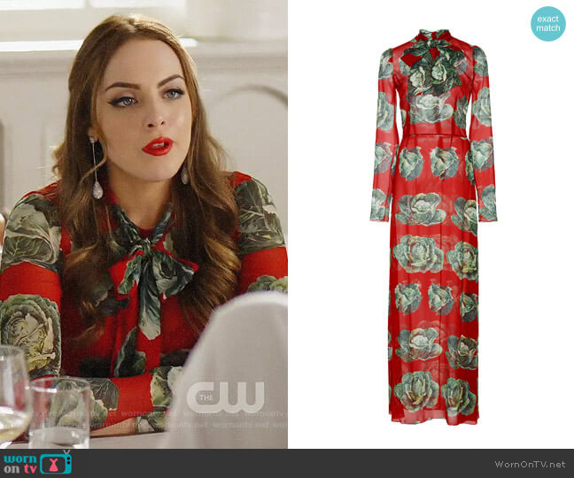 Dolce & Gabbana Cabbage Print Maxi Dress worn by Fallon Carrington (Elizabeth Gillies) on Dynasty