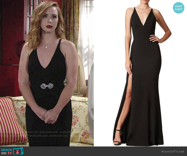 Dress the Population Iris Slit Crepe Gown worn by Mariah Copeland (Camryn Grimes) on The Young & the Restless