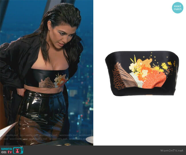 Floral Black Tube Top by Dries Van Noten worn by Kourtney Kardashian  on Keeping Up with the Kardashians