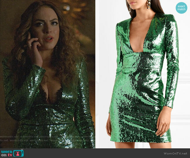 Dundas Cut-out back sequined dress worn by Elizabeth Gillies on Dynasty