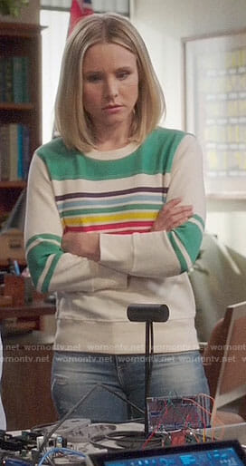 Eleanor's striped sweatshirt with green panel on The Good Place