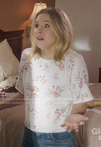 Eleanor's rose print top on The Good Place
