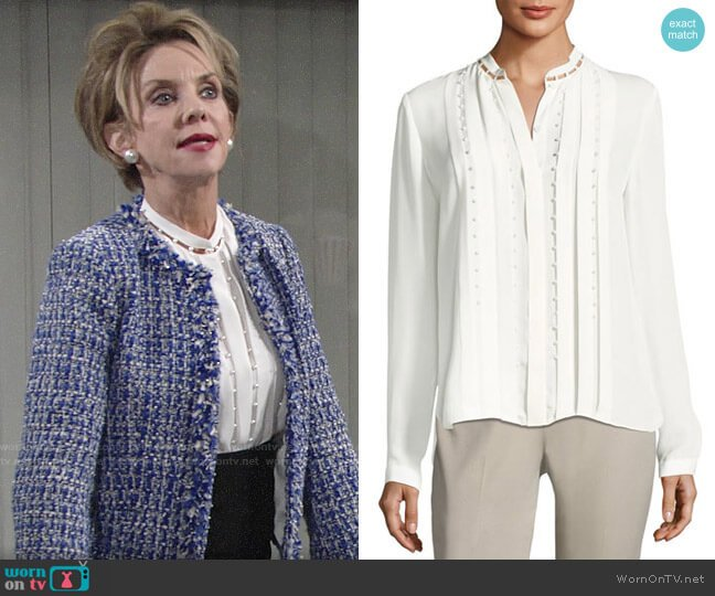 Elie Tahari Fontaine Blouse worn by Gloria Abbott Bardwell (Judith Chapman) on The Young & the Restless