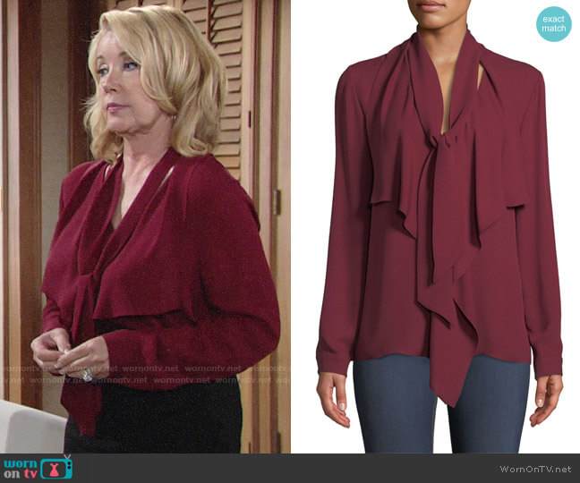 Elie Tahari Jurnee Blouse worn by Nikki Reed Newman (Melody Thomas-Scott) on The Young & the Restless