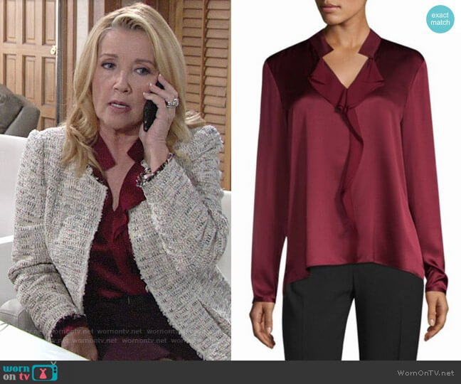 Elie Tahari Marlow Blouse worn by Nikki Reed Newman (Melody Thomas-Scott) on The Young & the Restless