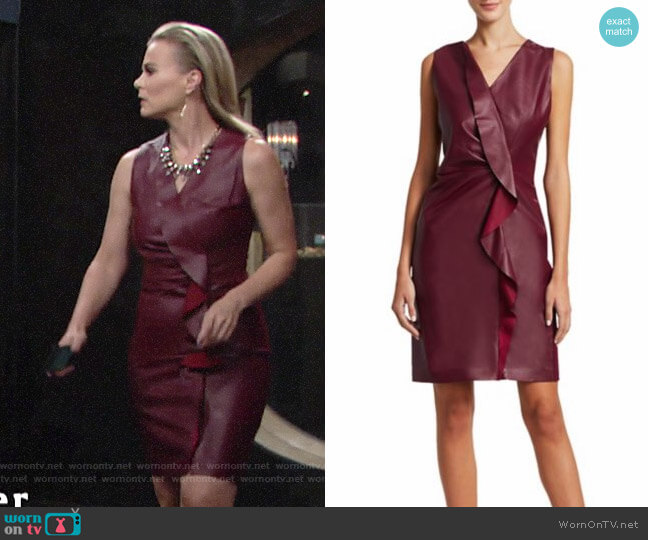 Elie Tahari Marsala Dress worn by Phyllis Newman (Gina Tognoni) on The Young & the Restless