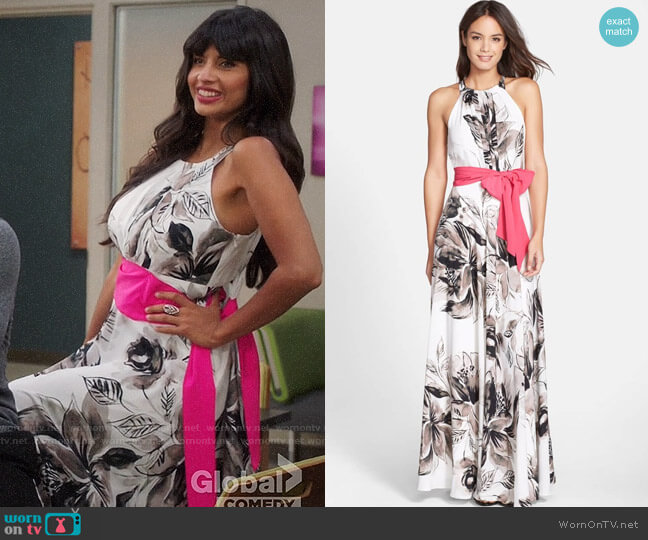 Eliza J Chiffon Maxi Dress worn by Tahani Al-Jamil (Jameela Jamil) on The Good Place