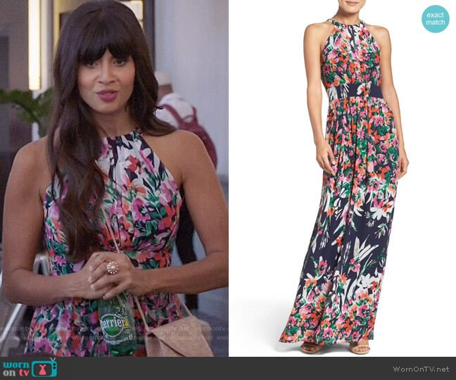 Eliza J Print Chiffon Halter Maxi Dress worn by Tahani Al-Jamil (Jameela Jamil) on The Good Place