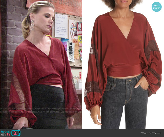 Phyllis's lace panel blouse on The Young and the Restless