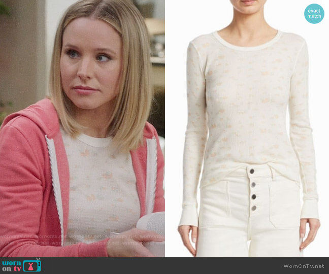 Elizabeth and James Valentine Floral Pullover  worn by Kristen Bell on The Good Place