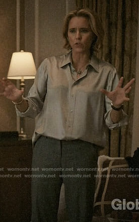 Elizabeth's silver button down blouse on Madam Secretary