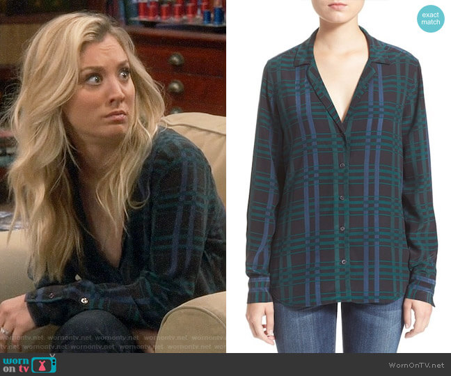 Equipment Adalyn Plaid Shirt worn by Kaley Cuoco on The Big Bang Theory