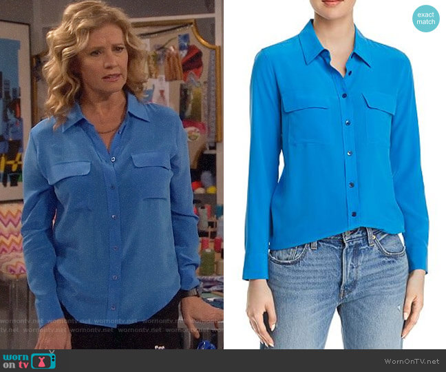 Equipment Slim Signature Silk Shirt worn by Vanessa Baxter (Nancy Travis) on Last Man Standing