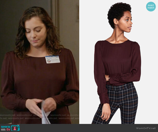 Puff Sleeve Large Button-Cuff Blouse by Express  worn by Rachel Bloom on Crazy Ex-Girlfriend
