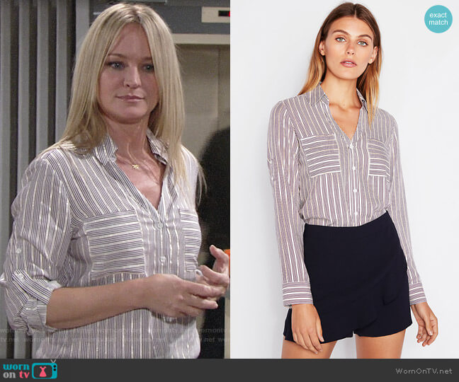 Express Slim Fit Gold Metallic Striped Portofino Shirt worn by Sharon Collins (Sharon Case) on The Young & the Restless