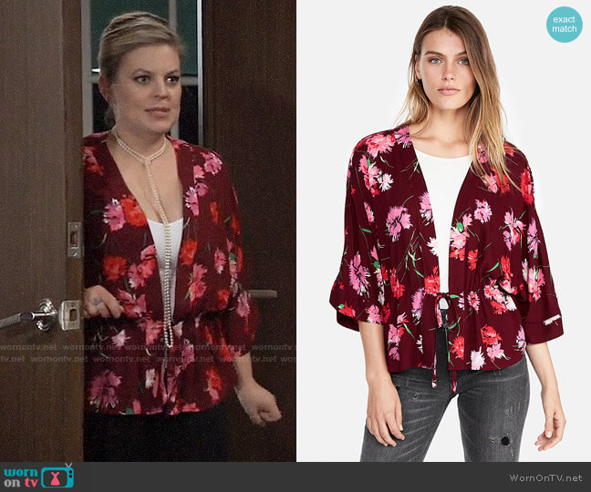 Express Floral Cinched Waist Kimono Sleeve Top worn by Maxie Jones (Kirsten Storms) on General Hospital