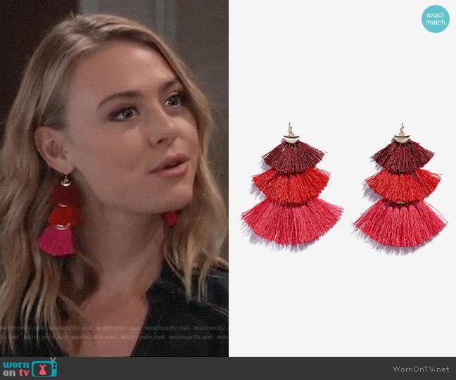 Express Tiered Tassel Drop Earrings worn by Kiki Jerome (Hayley Erin) on General Hospital