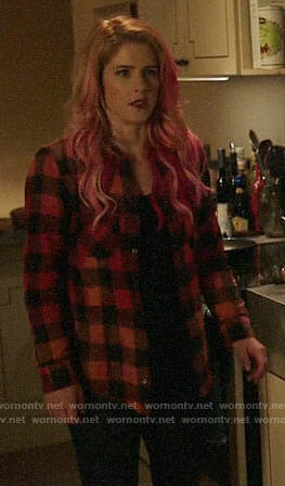 Felicity's buffalo check shirt on Arrow