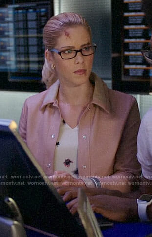 Felicity's floral top and pink leather bomber jacket on Arrow