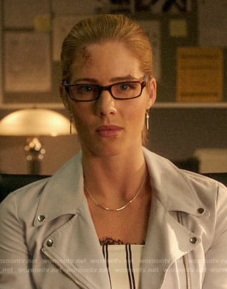 Felicity's striped lace-trim top and moto jacket on Arrow
