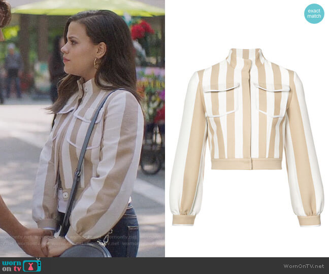 Fendi Striped Jacket worn by Maggie Vera (Sarah Jeffery) on Charmed