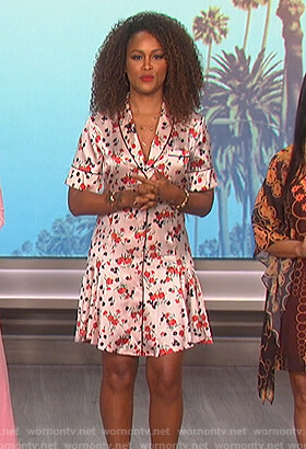 Eve's white floral mini dress on The Talk