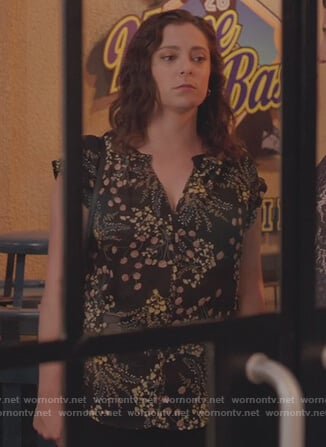 Rebecca's black floral print top on Crazy Ex Girlfriend