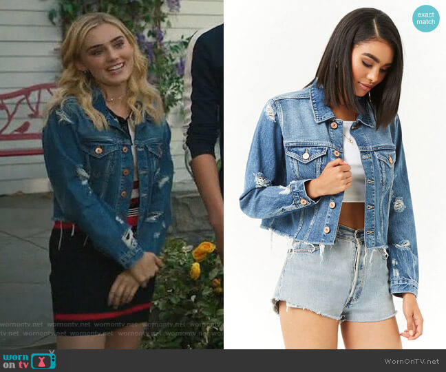 Cropped Distressed Denim Jacket by Forever 21 worn by Taylor Otto (Meg Donnelly) on American Housewife