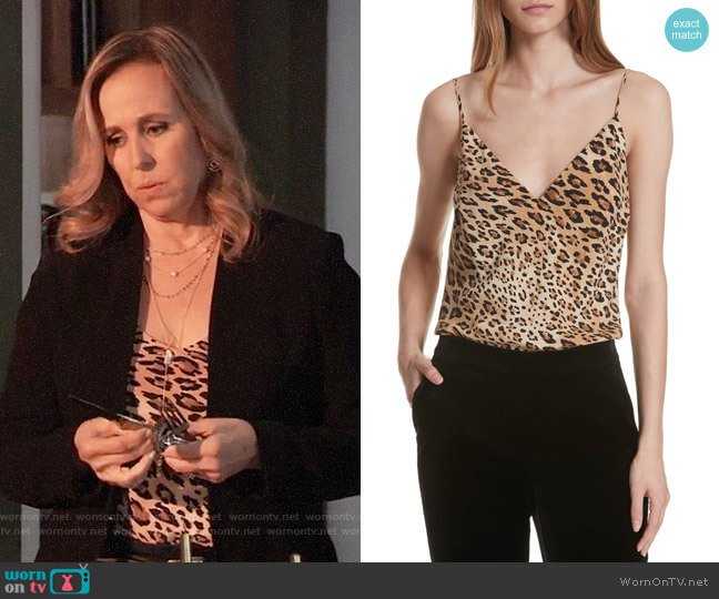 Frame Cheetah Print Camisole worn by Laura Collins (Genie Francis) on General Hospital