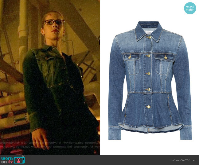 Felicity's denim peplum jacket on Arrow