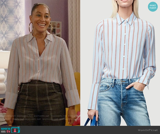Frame Long Cuff Silk PJ Blouse worn by Rainbow Johnson (Tracee Ellis Ross) on Blackish