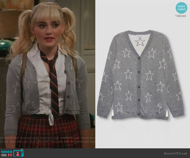 Star Cardigan by Franki Jack at Target worn by Taylor Otto (Meg Donnelly) on American Housewife