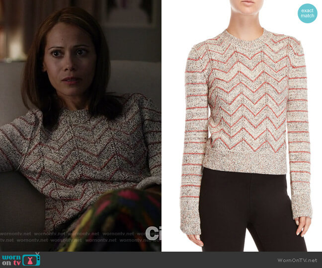 Zig Zag Pullover Sweater by Free People worn by Victoria Cartagena on Manifest