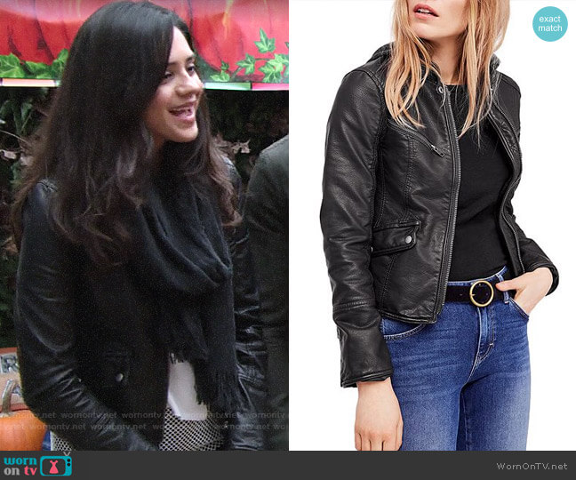 Free People Monroe Hooded Faux Leather Jacket worn by Sasha Calle on The Young & the Restless