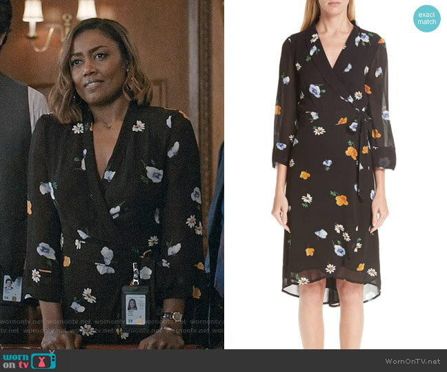 Ganni Dainty Floral Wrap Dress worn by Patina Miller on Madam Secretary